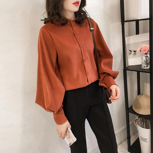 Fashion Casual Simple And Pure Color Long Sleeve Loose Shirt Orange l