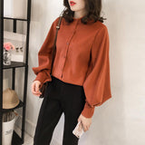 Fashion Casual Simple And Pure Color Long Sleeve Loose Shirt Orange xl