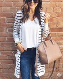 Fashion Casual Long Striped Cardigan Coat Stripe m