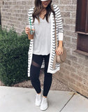 Fashion Casual Long Striped Cardigan Coat Stripe xl