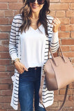 Fashion Casual Long Striped Cardigan Coat Stripe s