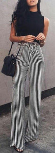 Fashion Casual Slim Striped Lace-Up Straight Trousers Pants White l