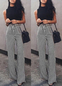 Fashion Casual Slim Striped Lace-Up Straight Trousers Pants White xl
