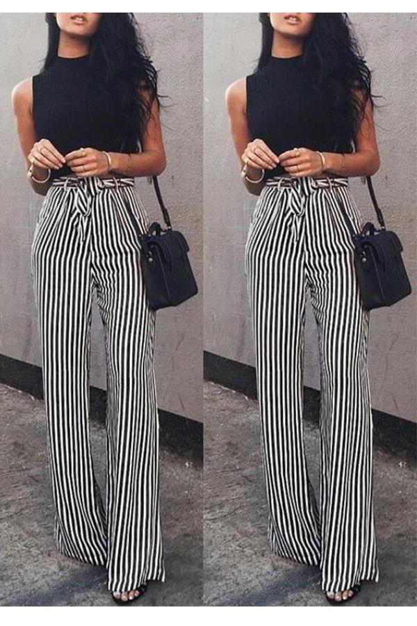 Fashion Casual Slim Striped Lace-Up Straight Trousers Pants White s