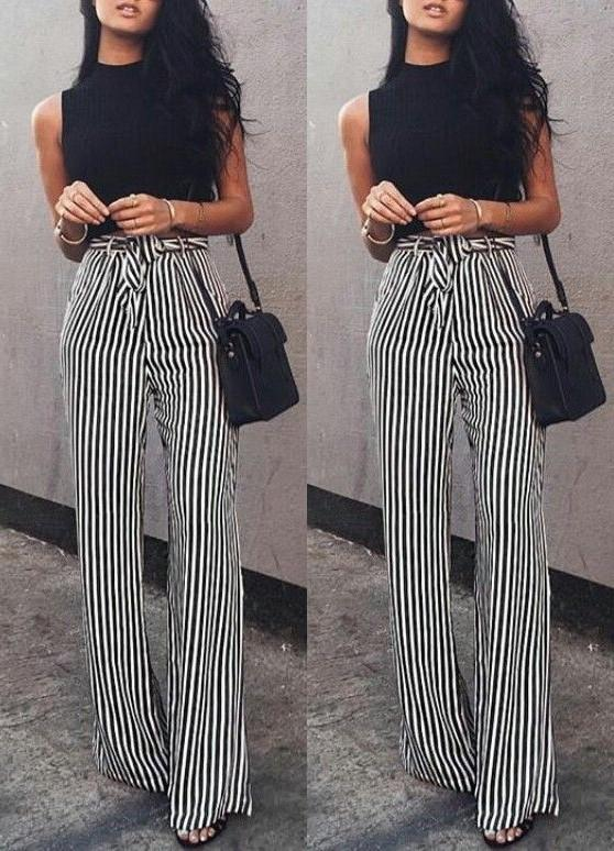 Fashion Casual Slim Striped Lace-Up Straight Trousers Pants White m