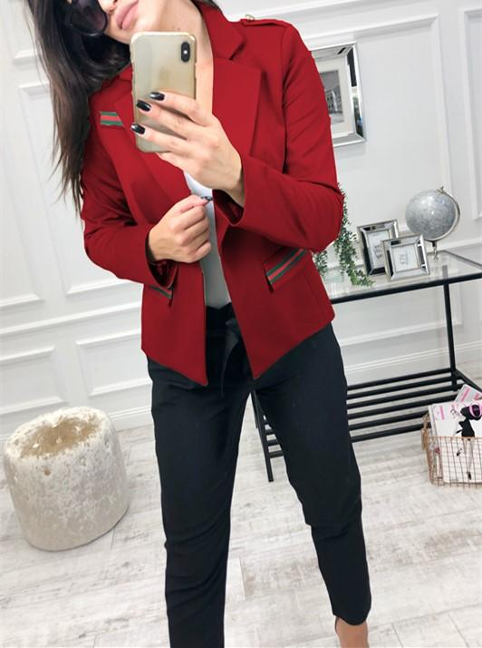Fashion Casual Slim Trim And Splice Small Suit Jacket With Lapels Red l