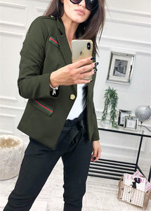 Fashion Casual Slim Trim And Splice Small Suit Jacket With Lapels Army Green m