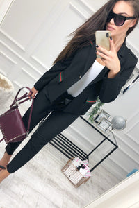Fashion Casual Slim Trim And Splice Small Suit Jacket With Lapels Black xl