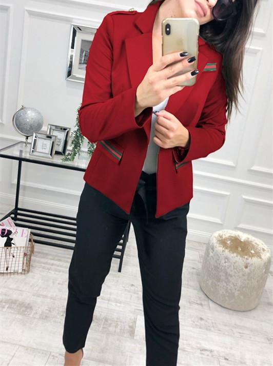 Fashion Casual Slim Trim And Splice Small Suit Jacket With Lapels Red xl