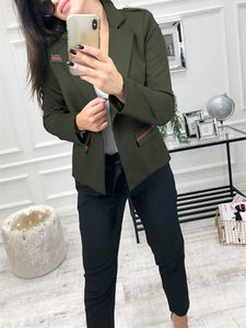 Fashion Casual Slim Trim And Splice Small Suit Jacket With Lapels Army Green xl