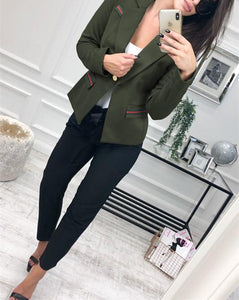 Fashion Casual Slim Trim And Splice Small Suit Jacket With Lapels Army Green l