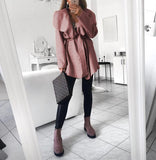 Fashion Casual Pure Color Slim Irregular Lapel Coat Pink s