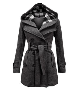 Fashion Casual Slim Woolen Long Coat Double Breasted Thickened Glengarry Coat Dark Grey m