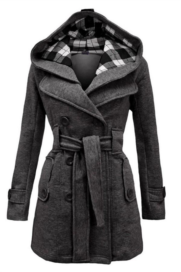 Fashion Casual Slim Woolen Long Coat Double Breasted Thickened Glengarry Coat Dark Grey s