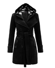Fashion Casual Slim Woolen Long Coat Double Breasted Thickened Glengarry Coat