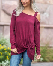 Fashion Casual Slim Pure Color Long Sleeved Off The Shoulder Cotton T-Shirt