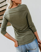 Fashion Casual Pure Color Slim Long Sleeve Button T Shirt