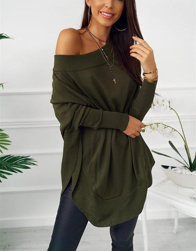 Fashion Casual Pure Color Sexy One Word Shoulder Slit Butterfly Sleeve Loose Mini Dress Green m