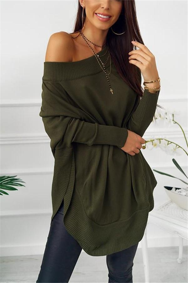 Fashion Casual Pure Color Sexy One Word Shoulder Slit Butterfly Sleeve Loose Mini Dress Green s