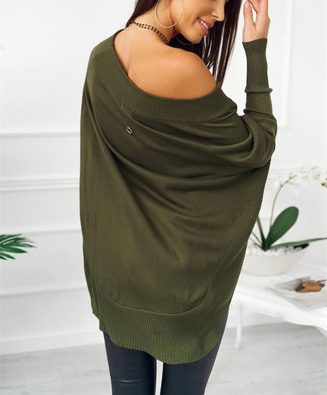 Fashion Casual Pure Color Sexy One Word Shoulder Slit Butterfly Sleeve Loose Mini Dress Green l