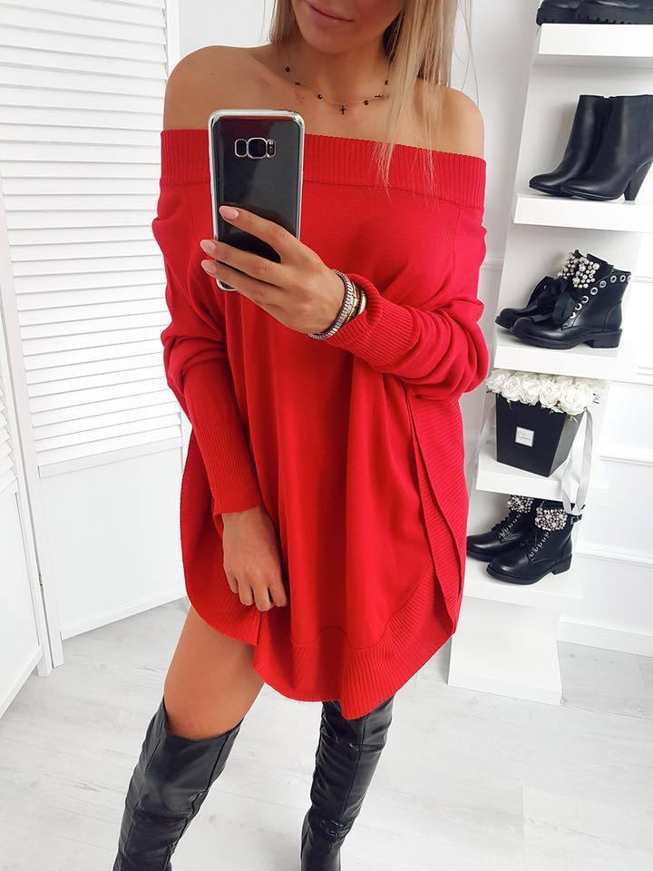 Fashion Casual Pure Color Sexy One Word Shoulder Slit Butterfly Sleeve Loose Mini Dress Black xl