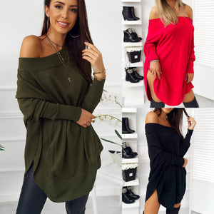 Fashion Casual Pure Color Sexy One Word Shoulder Slit Butterfly Sleeve Loose Mini Dress Green xl