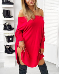 Fashion Casual Pure Color Sexy One Word Shoulder Slit Butterfly Sleeve Loose Mini Dress Black l