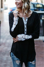 Fashion Casual Pure Color Sexy Hollowed-Out Lace Split Top T-Shirt