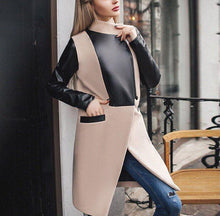 Fashion Casual Woolen Collage Pu Standup Collar Oversize Coat