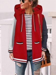 Fashion Casual Matching Hat Hoodie Coat Red m