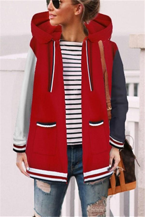 Fashion Casual Matching Hat Hoodie Coat Red s