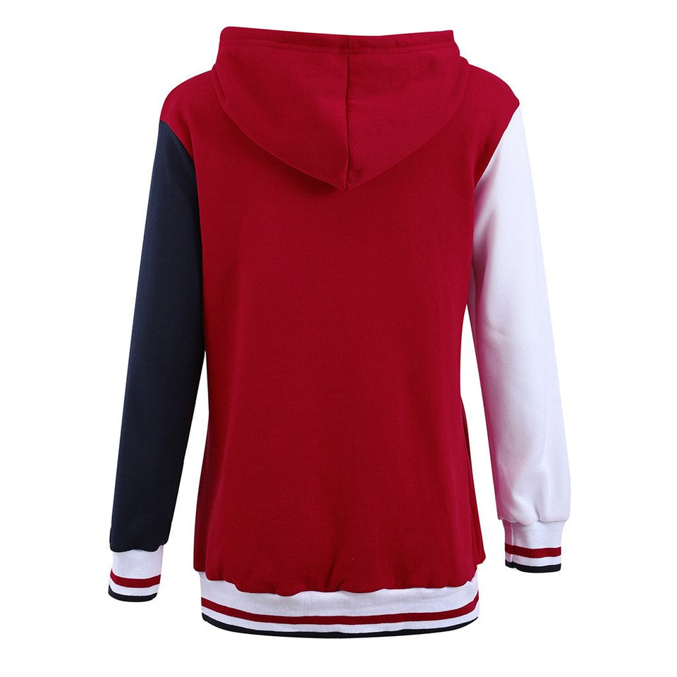 Fashion Casual Matching Hat Hoodie Coat Red xl