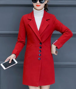 Fashion Casual Pure Color Slim Woolen Overcoat Pink xl