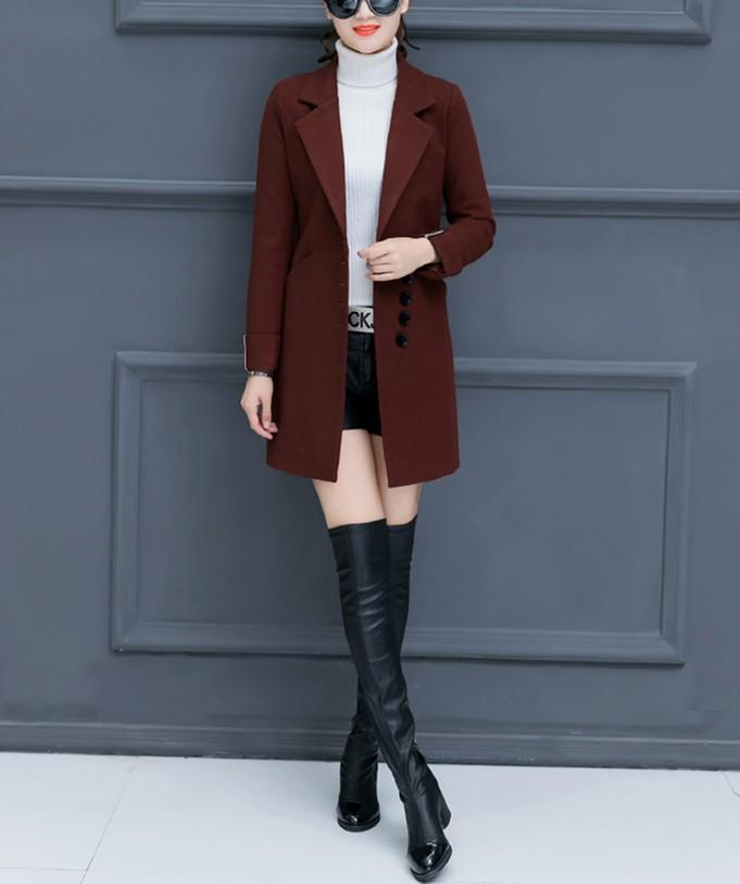 Fashion Casual Pure Color Slim Woolen Overcoat Red m