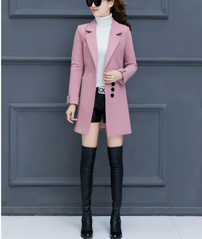 Fashion Casual Pure Color Slim Woolen Overcoat Pink m