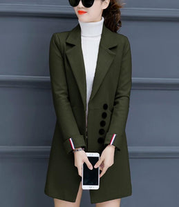 Fashion Casual Pure Color Slim Woolen Overcoat Army Green m