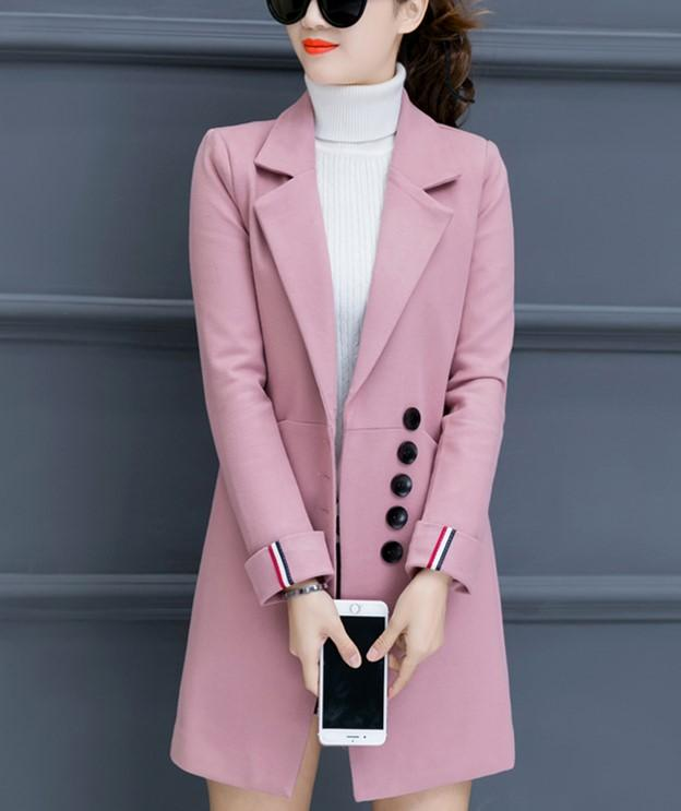 Fashion Casual Pure Color Slim Woolen Overcoat Pink s