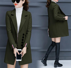 Fashion Casual Pure Color Slim Woolen Overcoat Army Green xl