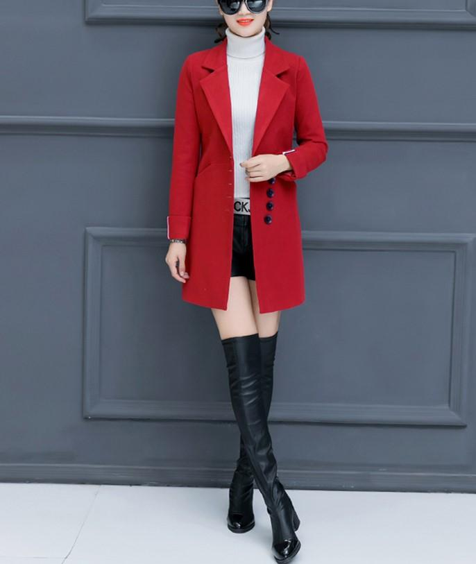 Fashion Casual Pure Color Slim Woolen Overcoat Pink l