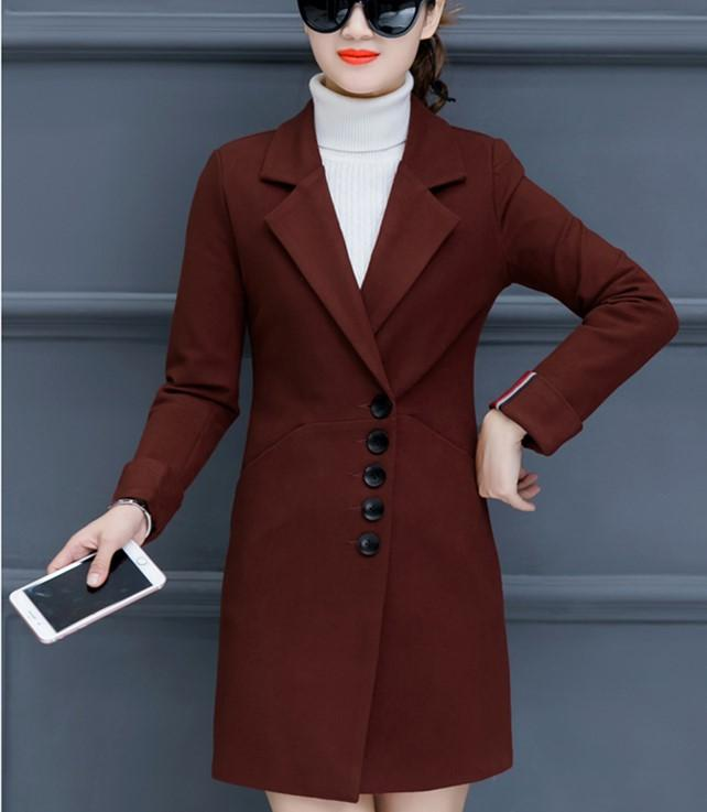 Fashion Casual Pure Color Slim Woolen Overcoat Red s