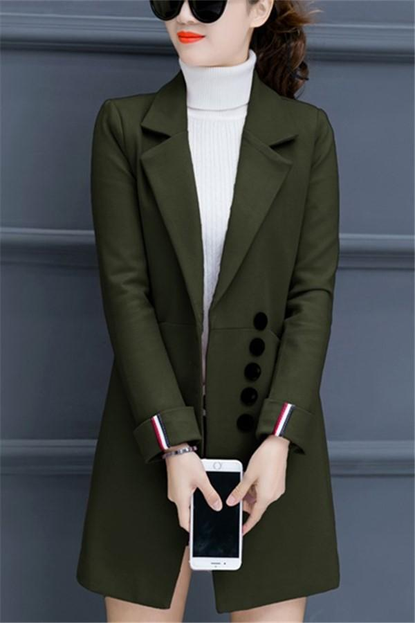Fashion Casual Pure Color Slim Woolen Overcoat Army Green s