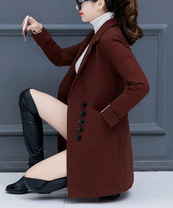 Fashion Casual Pure Color Slim Woolen Overcoat Red l