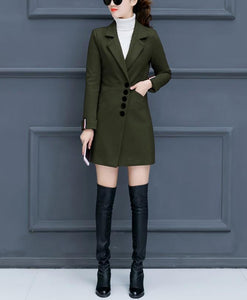 Fashion Casual Pure Color Slim Woolen Overcoat Army Green l