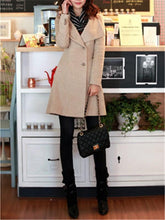 Fashion Casual Pure Color Slim Long And Slim Woolen Overcoat