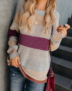 Fashion Casual Color Matching Long And Loose Knit Sweater Multi m