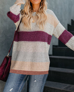 Fashion Casual Color Matching Long And Loose Knit Sweater Multi xl