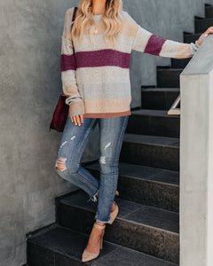 Fashion Casual Color Matching Long And Loose Knit Sweater Multi l