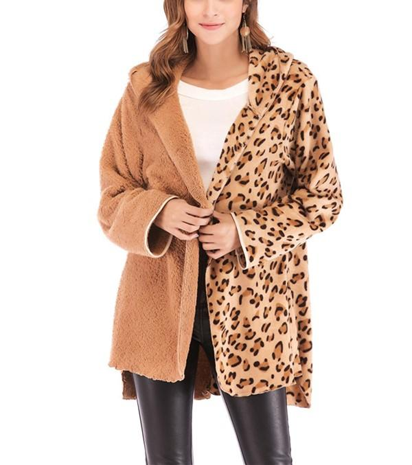 Fashion Casual Double Pile Leopard Print Long Sleeved Cardigan Jacket Coat Camel m
