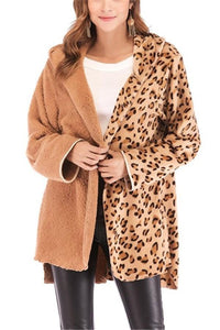 Fashion Casual Double Pile Leopard Print Long Sleeved Cardigan Jacket Coat Camel s