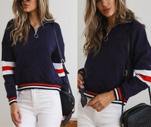 Fashion Casual Matching Color Zipper Jacket Coat Blue l